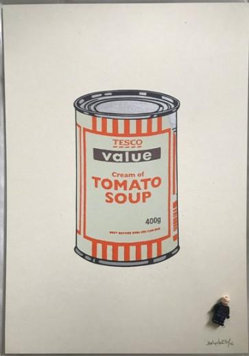 Banksy Soup Can Mint/Orange/Brown 727gallery.com
