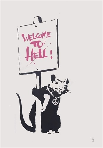 Banksy - Welcome To Hell Pink (Signed) 727gallery