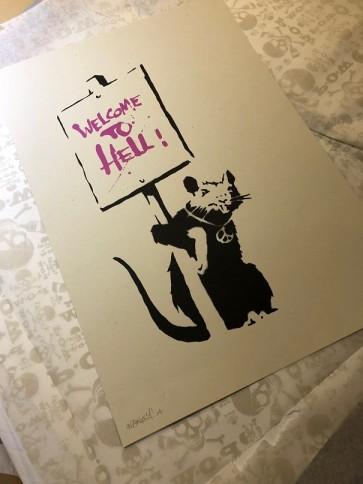 Banksy - Welcome To Hell Pink  (Signed)