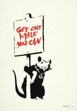banksy - Rat get out while you can (signed)