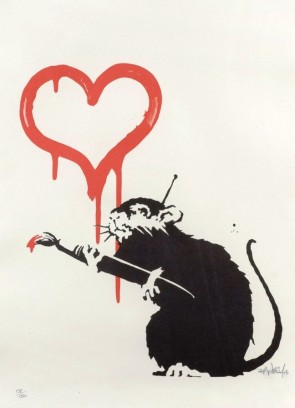 banksy Love rat signed