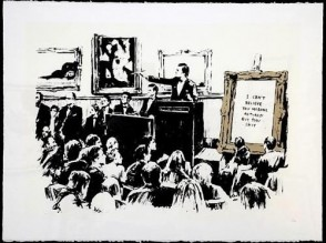 Banksy print Morons white signed