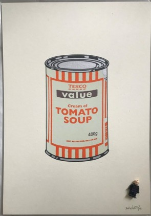 Banksy Soup Can Mint/Orange/Brown 727gallery.com