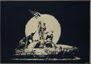 Banksy Flag Gold Formica