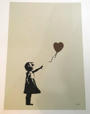 Banksy Girl with Balloon signed  AP GOLD