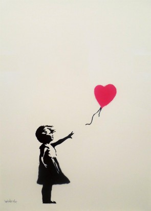 Banksy Girl with Balloon Signed Gild with red balloon