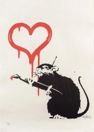banksy love rat signed for sale